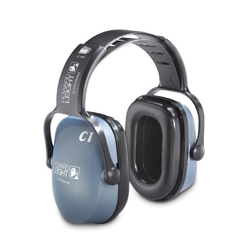 Honeywell Howard Leight Clarity C1 earmuffs, hearing protection for work & hobby, dielectric, blue, SNR 25 dB