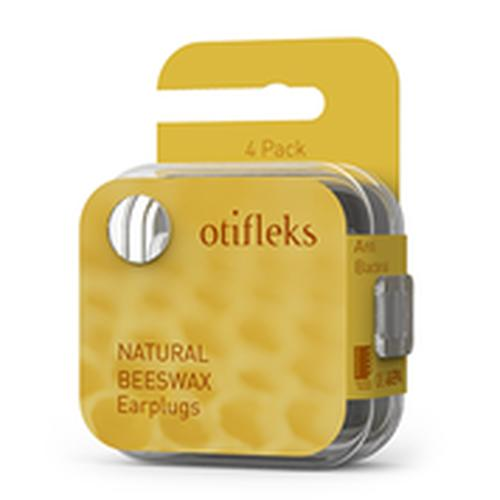 Otifleks Beeswax earplugs, earplugs made of natural beeswax and cotton fibres, 4 pcs
