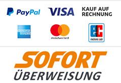 Bezahlung mit Paypal, Sofot Überweisung, Kreditkarte, Auf Rechnung etc.